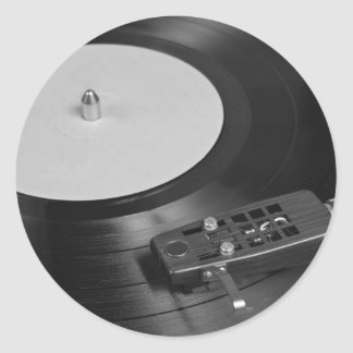 Vinyl Record Playing on a Turntable Overview Classic Round Sticker