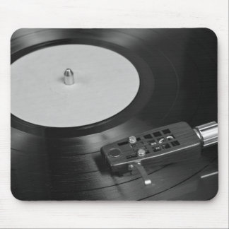 Vinyl Record Playing on a Turntable Overview Mouse Pad