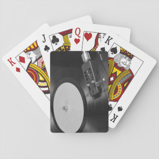 Vinyl Record Playing on a Turntable Overview Playing Cards