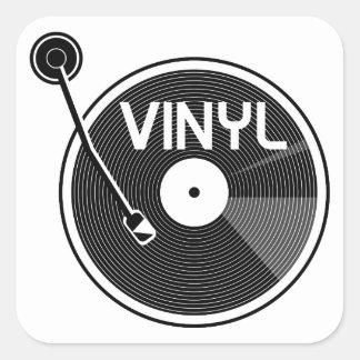 Vinyl Record Turntable Black and White Square Sticker
