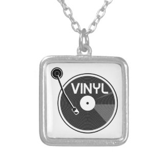 Vinyl Record Turntable Silver Plated Necklace
