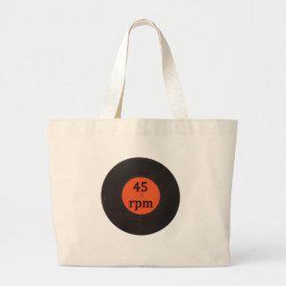 Vinyl record vintage 45 rpm 7 inch single large tote bag