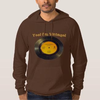 Vinyl Record Vintage Edit Text-Song Brown Hoodie