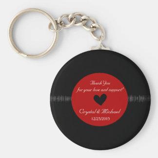 Vinyl Record Wedding Favor Personalized Key Ring Keychain