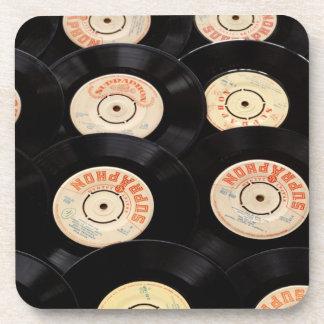 Vinyl Records Background Beverage Coaster