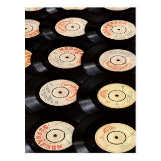 Vinyl Records Background Postcard
