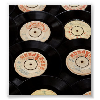 Vinyl Records Background Poster