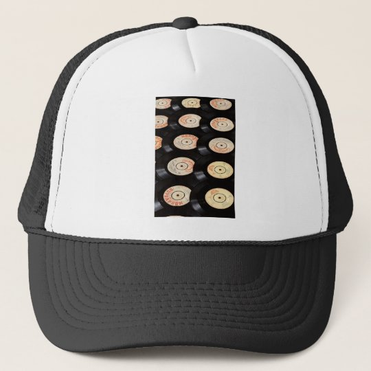 Vinyl Records Background Trucker Hat