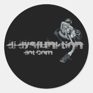 Vinyl_Records, DJ DysFunktion, Dot Com Classic Round Sticker