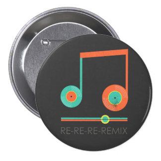 Vinyl records music note dj re-re-re-remix pinback button
