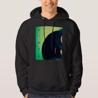 Vinyl records on green background hoodie