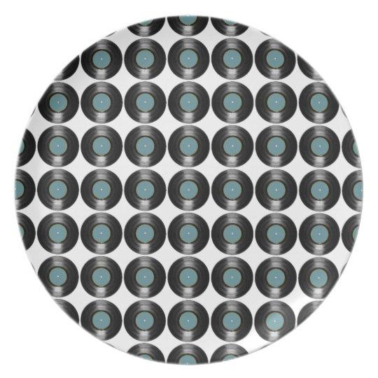 vinyl records pattern dinner plate