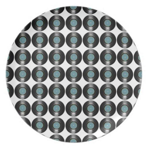 vinyl records pattern party plates