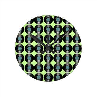vinyl records pattern round clock