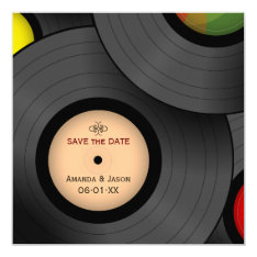Vinyl Records Retro Save The Date Invitation at Zazzle