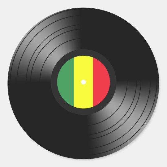 Vinyl Reggae Classic Round Sticker Zazzle Com