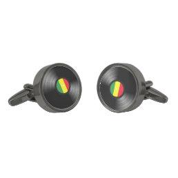 Vinyl reggae gunmetal finish cufflinks