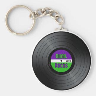 Vinyl Rocks LP Basic Round Button Keychain