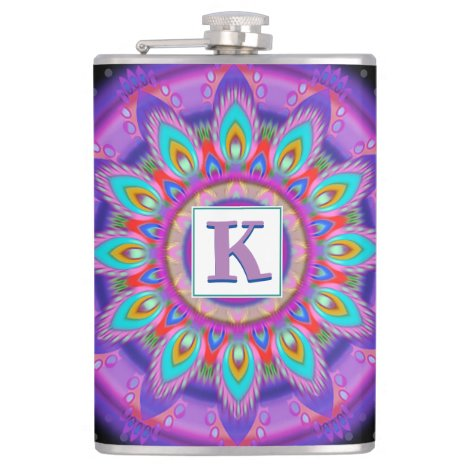 Vinyl wrapped custom hip flask psychedelic
