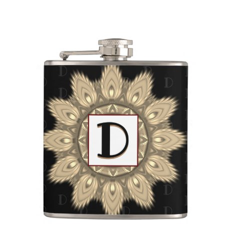 Vinyl wrapped custom hip flask sepia psychedelia