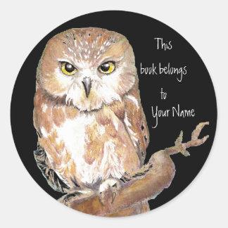 Vio para amolar la placa de libro del búho pegatina redonda