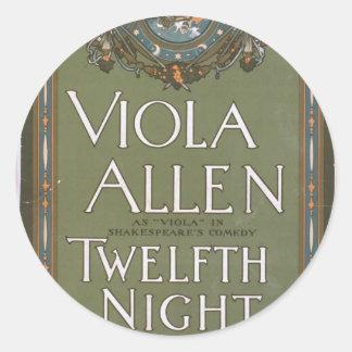 Viola Allen, 'Twelfth Night' Vintage Theater Stickers