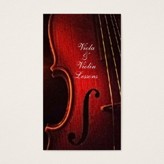 Viola and Violin Musical Instrument Lessons Business Card