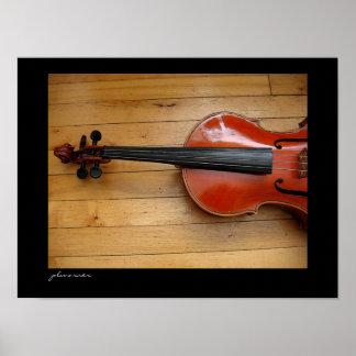 Viola en piso de madera impresiones
