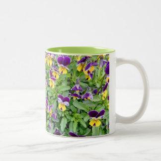 Viola Flowers in Spring Two-Tone Coffee Mug