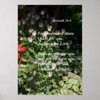 Viola Garden Flowers ~ Jeremiah 29:11 Posters