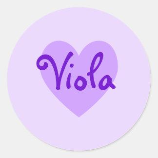 Viola in Purple Round Stickers