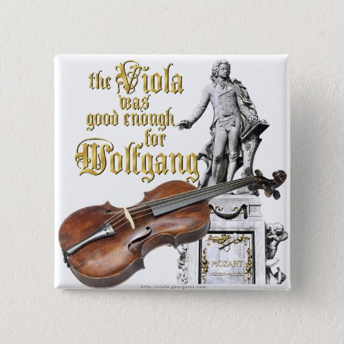 Viola and Mozart 2-inch Square Button