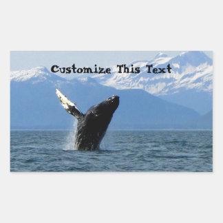 Violación de la ballena jorobada; Personalizable Rectangular Pegatinas