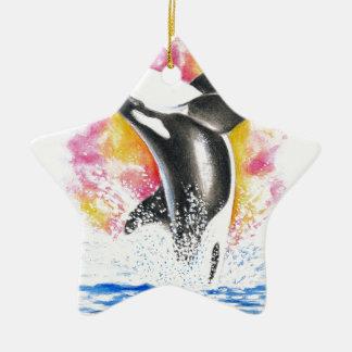 Violación hermosa de la ballena de la orca adorno navideño de cerámica en forma de estrella