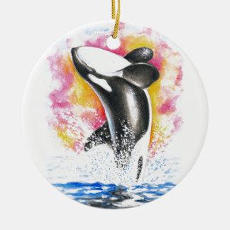 Violación hermosa de la ballena de la orca adorno navideño redondo de cerámica