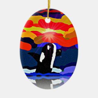 violación para los regalos del diseño de la orca adorno navideño ovalado de cerámica