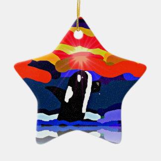 violación para los regalos del diseño de la orca d ornamento para arbol de navidad