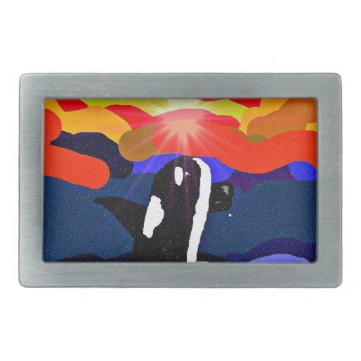 violación para los regalos del diseño de la orca d hebilla cinturón rectangular