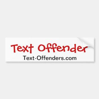 Violadores del Texto-Delincuente el | Texting Pegatina Para Coche