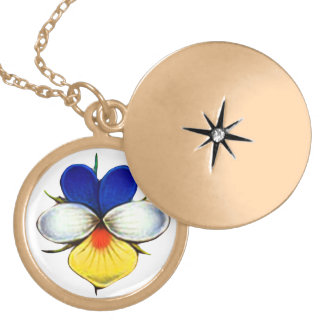 Violas Are A Little Blue Gold Plated Necklace
