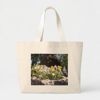 Violas In A Stone Trough. Bags
