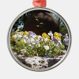Violas In A Stone Trough. Metal Ornament