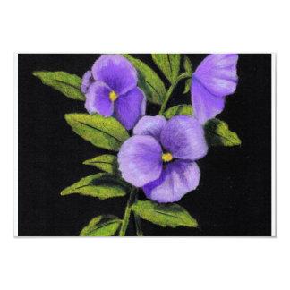 "Violas (Pansies) in color pencil: RSVP cards 3.5"" X 5"" Invitation Card"