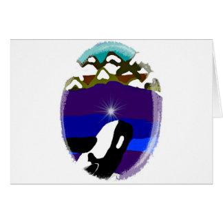 Viole a las montañas la orca tarjeta de felicitación