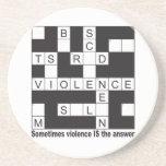 Violence Crossword Sandstone Coaster