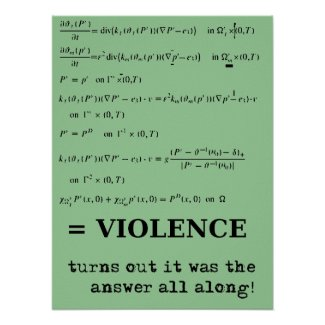 Violence Is The Answer Funny Print Poster Sign