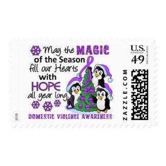 Violencia en el hogar de los pingüinos del navidad timbres postales