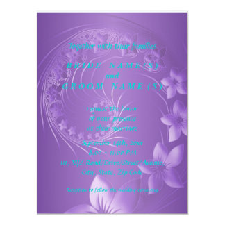 Violet Abstract Flowers 6.5x8.75 Paper Invitation Card