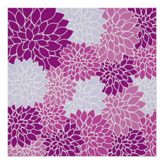 Violet abstract flowers poster