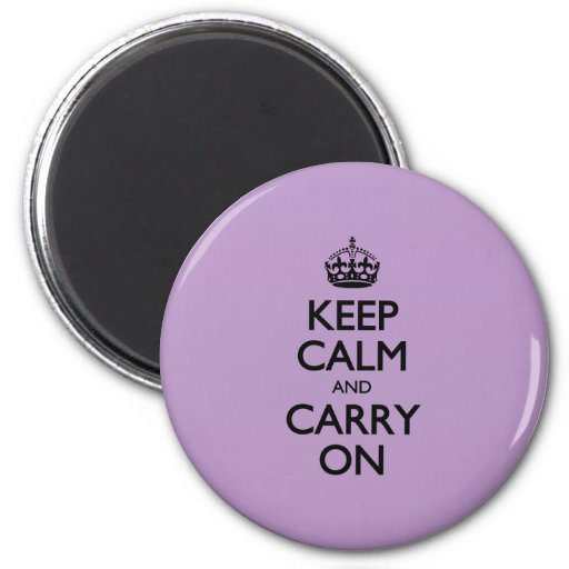 Violet African Keep Calm And Carry On Black Text Magnets